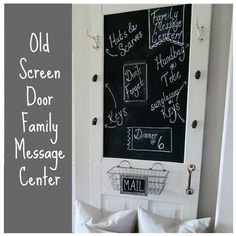 Turn an Old Screen Door into a Family Message Center - 19 Creative and Useful DIY Home Decor Projects