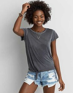 AEO Tie Front T-Shirt -