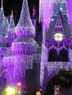 Disney World's Magic Kingdom in glittering purple Purple Christmas, Disney Christmas, Christmas Lights, Christmas Time, Christmas Displays, Christmas Stuff, Christmas Ideas, Merry Christmas, Purple Love