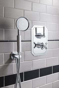 Beautifully classic design - Waldorf shower handset with white handle, wall outlet & hose from Crosswater. http://www.crosswater.co.uk/product/crosswater-showering-handsets/waldorf-shower-handset-with-white-handle-wall-outlet-and-hose-wf964c/