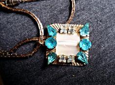 Vintage Aqua Rhinestone Necklace 1960's jewelry by Scentedlingerie, at etsy