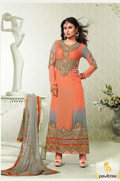 Pavitraa Oarnge and Grey Party Wear Salwar Suit Rs 3384.9 #salwarsuits #straightpartywearsalwarsuits #straightsalwarsuits #onlinestraightsalwar