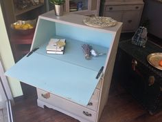 Vintage Secretary Desk, Solid Wood Desk with Drawers.