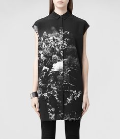 Donna Giovia Flora Shirt Dress (Flora Mortis B&W) | ALLSAINTS.com