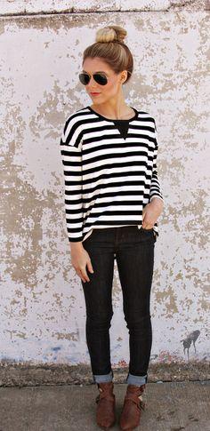 stripes + denim + booties // shopriffraff.com