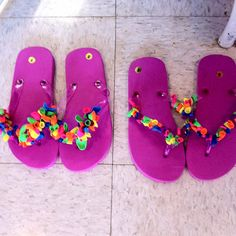 Flip flops decorated with water balloons