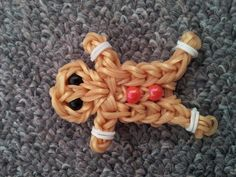 Gingerbread man made with loombands + youtube tutorial :)