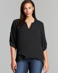 Karen Kane Plus Size Fashion Black Asymmetric Wrap Top | Bloomingdale's #Karen_Kane #Black #Plus #Size #Fashion #Plus_Size_Fashion #Bloomingdales