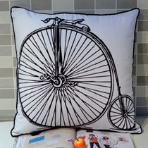 Zakka Bike Printed Throw Cushion Cover for Couch Bedding, CM Throw Cushions, Home Textile, Textiles, Bike, Couch, Retro, Prints, Vintage, Bedding