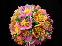Fuchsia Pink and Orange French Beaded Flower