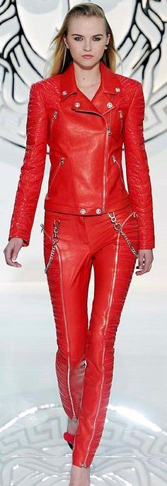 Versace red leather jacket and pants ensemble runway fashion