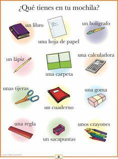 Spanish School Supplies Poster
