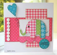 sharing the cards I made with this month& Project of the Month Kit from Craftwork Cards .I love the fres. Homemade Birthday Cards, Birthday Cards For Boys, Birthday Kids, Kids Cards, Baby Cards, Craftwork Cards, Animal Cards, Heart Cards, Cute Crafts