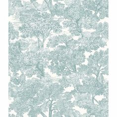 With the subtle look of linen, this toile wallpaper has a hand drawn design. Its lovely teal pattern pops against a white background.