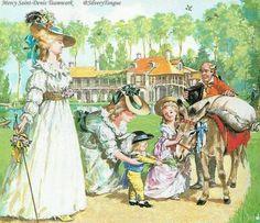 Marie Antoinette at her hamlet with her children.