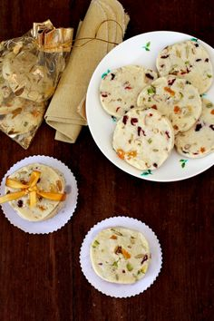 Melt in the mouth, eggless shortbread cookies flavored with cardamom, lemon zest and loaded with dried fruits and nuts. Indian Sweets, Indian Snacks, Indian Food Recipes, Cookie Flavors, Cookie Recipes, Baking Recipes, Healthy Cookies, Healthy Desserts, Cake Cookies