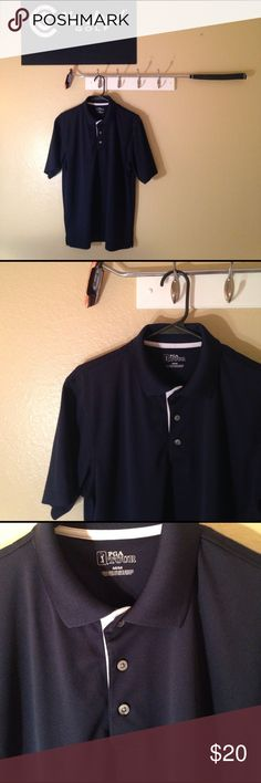 PGA 🏌🏾Tour Polo 100% Polyester Navy Blue PGA Tour Polo with 3 buttons up the front.  Excellent condition!! Any questions please ask. ⛳️😊 PGA Tour Shirts Polos