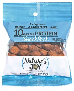 Nature's Joy 10 grams of protein almond snack pack!  Take it with you for a great snack on the go.