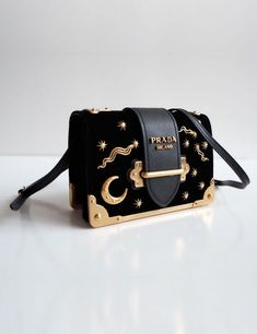 cb4552c13017 Prada Limited Edition Small Velvet Astrology Sun and Stars Constellation Cahier  Bag in Black.