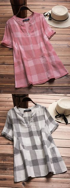 Gracila brand from NEWCHIC. US size 8 to 20. Vintage Plaid V-neck Short Sleeve Loose Shirts. #pink #color #fashion