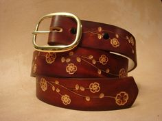 """Tooled Leather Belt - Custom Leather Belt - Personalized Leather Belt - Brown 1-1/2"""" Floral Pattern.  Not sure what size.  With my name :)"""