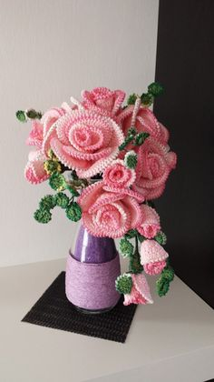 Best 12 Beautiful Crochet Flowers – Page 145804106673310530 Roses Au Crochet, Crochet Bouquet, Crochet Puff Flower, Crochet Flower Tutorial, Crochet Flowers, Diy Flowers, Diy Crochet Patterns, Crochet Diy, Crochet Motif