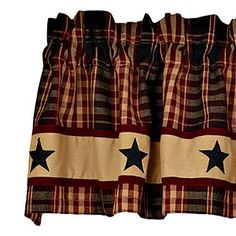 New Primitive Country Burgundy Wine Black Tan PLAID STAR Curtain Window  Valance #Country