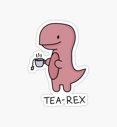 'Tea-Rex' Illustration by bloemsgallery Stickers Kawaii, Preppy Stickers, Cute Laptop Stickers, Bubble Stickers, Meme Stickers, Phone Stickers, Journal Stickers, Cool Stickers, Printable Stickers