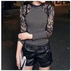 Sexy Stylish Blouse very unique piece This unique blouse will sure make you stand out. The material is cotton blend and lace. 5⭐️Rating.                                                                                                                                                            ✅Price is firm unless bundle                                                                                                                             ❌NO TRADES❌NO LOWBALL OFFERS Tops Blouses