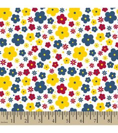 Snuggle Flannel Fabric Floral Navy