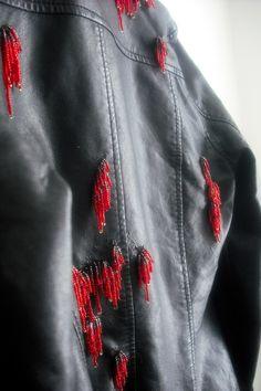fix up old pleather jacket, repair peeling fake leather clothing, seed bead fringe, beaded jacket