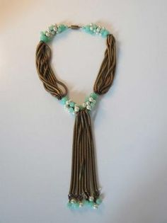 VTG FRENCH Rousselet Necklace With Green Glass by DecatiqueStudios, $450.00