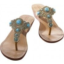 Mystique Gold & Turqoise Mini Wedge Sandals