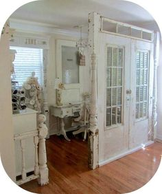 Repurposed Old Window Ideas   frames   Pinterest   Repurposed window     Junkchic Repurposed doors as room dividers  Could use to make a Mud room   or an office space