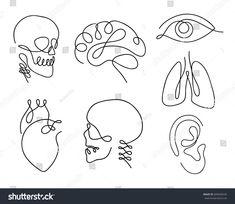 One line human organs set design silhouette.- One line human organs set design silhouette. Hand drawn minimalism s… One line human organs set design silhouette. Line Tattoos, Body Art Tattoos, Small Tattoos, One Line Tattoo, Tatoos, Logo Design, Shape Design, Set Design, Design Art