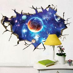 4.71$ Buy now - http://di480.justgood.pw/go.php?t=205615801 - 3D Space Planet Living Room Removable Wall Stickers 4.71$