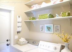 Cute laundry room makeover with cheap DIY shelves with brackets from hobby lobby. Would use brown baskets. Laundry Room Shelves, Laundry Room Organization, Laundry Rooms, Decorating On A Budget, Home Decor Inspiration, Home Renovation, Decoration, Home Projects, Diy Home Decor