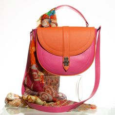 Cerise and orange half moon bag Saddle Bags, Leather Handbags, Fashion Backpack, Dust Bag, Shoulder Strap, Vibrant Colors, Moon, Zip, Orange