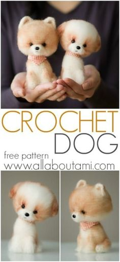 Crochet these exquisite and adorable dogs with beautiful brushed fur! Free pattern, tutorial, and different ear and snout options available!