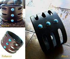 Trinity Turquoise Leather Cuff Native by SexySkinsLeather on Etsy
