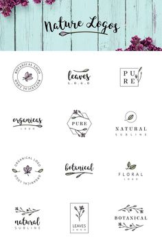 Nature & floral logos + BONUS by AgataCreate on @creativemarket Creative logo design inspiration, perfect for a modern business branding with perfect font and typography selection. Take some ideas or use this feminine, elegant, nature, floral and also hipster set.