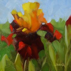 """Iris - Red & Orange"" - 6"" x 6"" oil painting by artist Elaine Juska Joseph *SOLD"