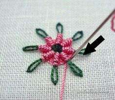 Chain Stitch Spider Daisy Tutorial on Needle & Thread at - - Types Of Embroidery, Japanese Embroidery, Hand Embroidery Stitches, Embroidery Hoop Art, Embroidery Techniques, Ribbon Embroidery, Cross Stitch Embroidery, Embroidery Patterns, Indian Embroidery