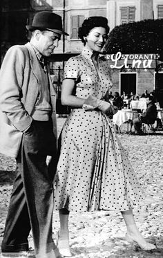 """Ava Gardner and Humphrey Bogart filming in Europe in """"The Barefoot Contessa"""""""