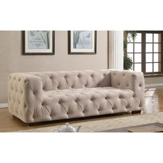 Luxurious Modern Large Tufted Linen Fabric Sofa | Overstock.com Shopping - The Best Deals on Sofas & Loveseats