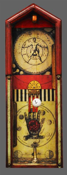 Thought Box 10 encaustic medium, oil pigment, images, paper, and found objects in vintage clockcase 22 x 8 x 3.5 Available from Artist