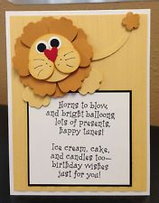 Lion Punch Art Stampin Up! Birthday Card kit (5 cards)