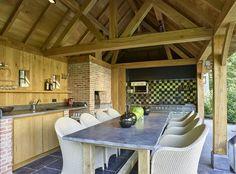 Cottage buitenkeuken   Bogarden Outdoor Furniture Sets, House Design, House, Outdoor Living, Garden Buildings, Wood Design, Built In Braai, French House, Outdoor Kitchen