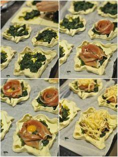 koszyczki z ciasta francuskiego z szynką parmeńską i szpinakiem Tapas, Mexican, Cooking, Ethnic Recipes, Party, Food, Gastronomia, Kitchen, Essen