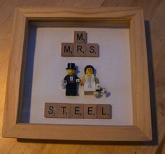 Personalised Lego Wedding Frame Personalised by ConfettiLaceEvents